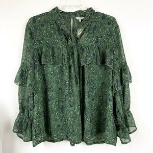 Lucky Brand Paisley Floral High Neck Ruffle Blouse